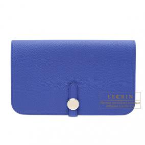 Hermes Dogon combined wallet GM Blue electric Togo leather Silver hardware