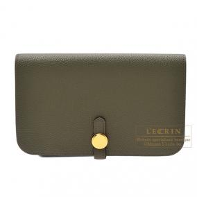 Hermes Dogon combined wallet GM Canopee/Canopee green Togo leather Gold hardware