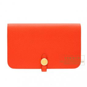 Hermes Dogon combined wallet GM Capucine/Capucine orange Togo leather Gold hardware