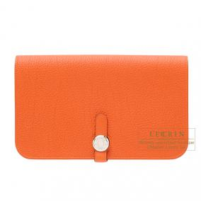 Hermes Dogon combined wallet GM Orange Togo leather Silver hardware