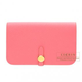 Hermes Dogon combined wallet GM Rose lipstick Togo leather Gold hardware