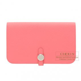Hermes Dogon combined wallet GM Rose lipstick Togo leather Silver hardware