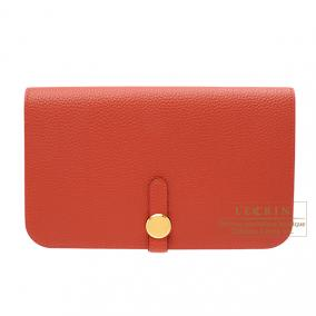 Hermes Dogon combined wallet GM Rouge vermillon/Vermilion red Togo leather Gold hardware