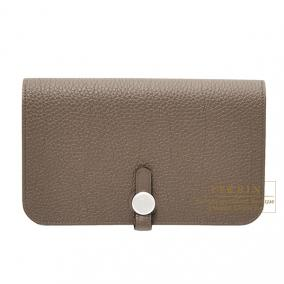 Hermes Dogon combined wallet GM Taupe Togo leather Mat Silver hardware