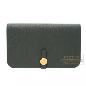 Hermes Dogon combined wallet GM Vert gris/Green grey Togo leather Gold hardware