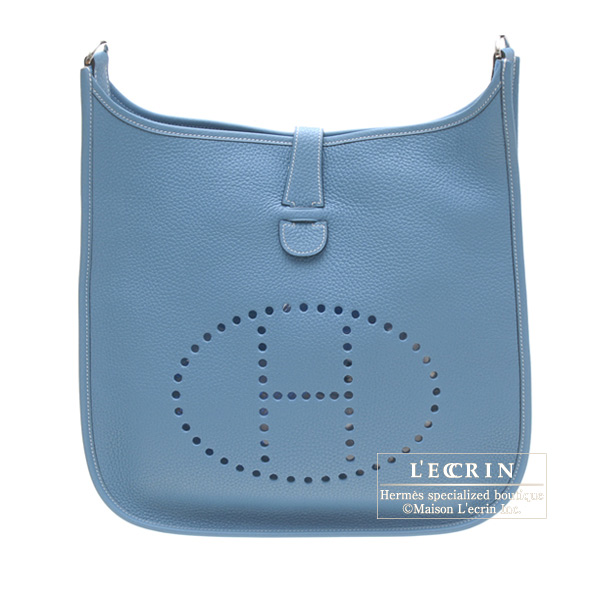 Hermes Evelyne II bag GM Blue jean Clemence leather Silver hardware