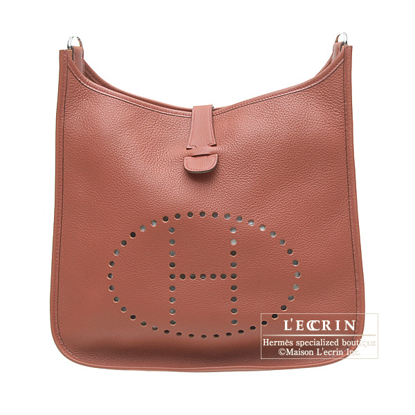 Hermes Evelyne II bag GM Brique/Brick Clemence leather Silver hardware