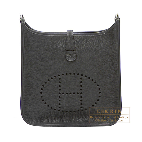 Hermes Evelyne II bag PM Black Clemence leather Silver hardware