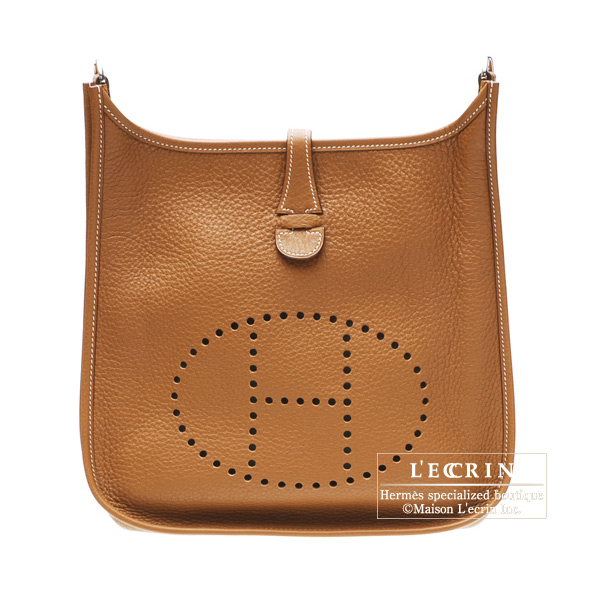 Hermes Evelyne II bag PM Gold Clemence leather Silver hardware