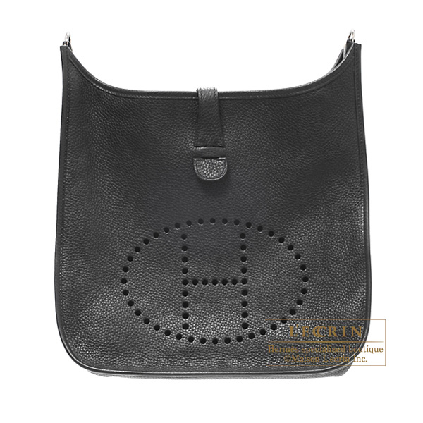 Hermes Evelyne I bag GM Black Clemence leather Silver hardware