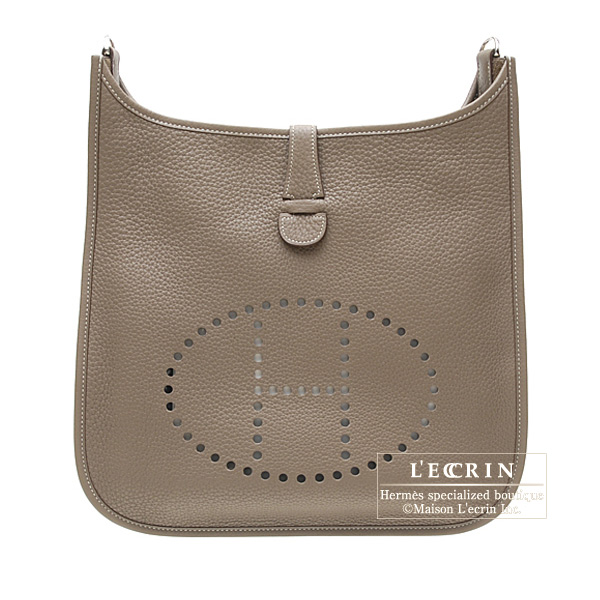 Hermes Evelyne I bag GM Etoupe/Taupe grey Clemence leather Silver hardware