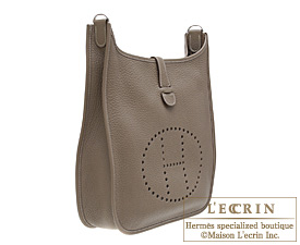 Hermes Evelyne I bag GM Etoupe/Taupe grey Clemence leather Silver ...