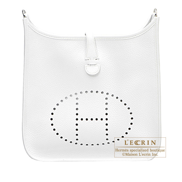 Hermes Evelyne I bag GM White Clemence leather Silver hardware