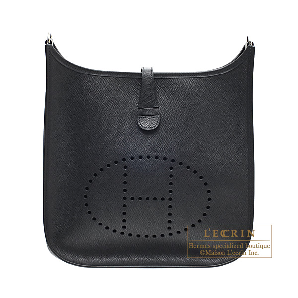 Hermes Evelyne I bag PM Black Epsom leather Silver hardware ...