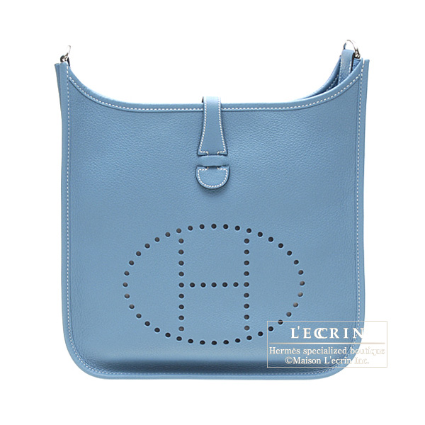 Hermes Evelyne I bag PM Blue jean Clemence leather Silver hardware