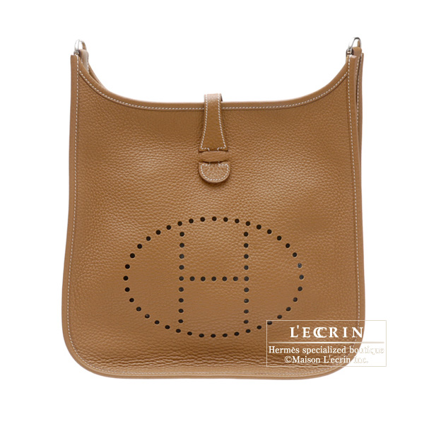 Hermes Evelyne I bag PM Gold Clemence leather Silver hardware