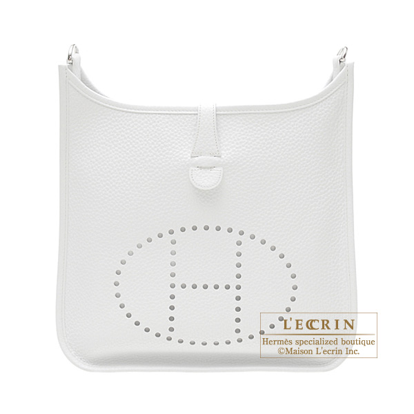 Hermes Evelyne I bag PM White Clemence leather Silver hardware