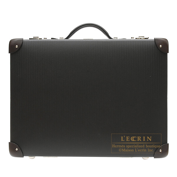 Hermes Faubourg express Suitcase PM Black Grey Vulcan fibre with leatherSilver hardware