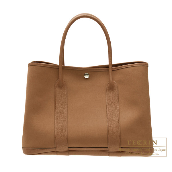 Hermes Garden Party bag PM Alezan/Chestnut brown Cotton canvas with buffalo leather