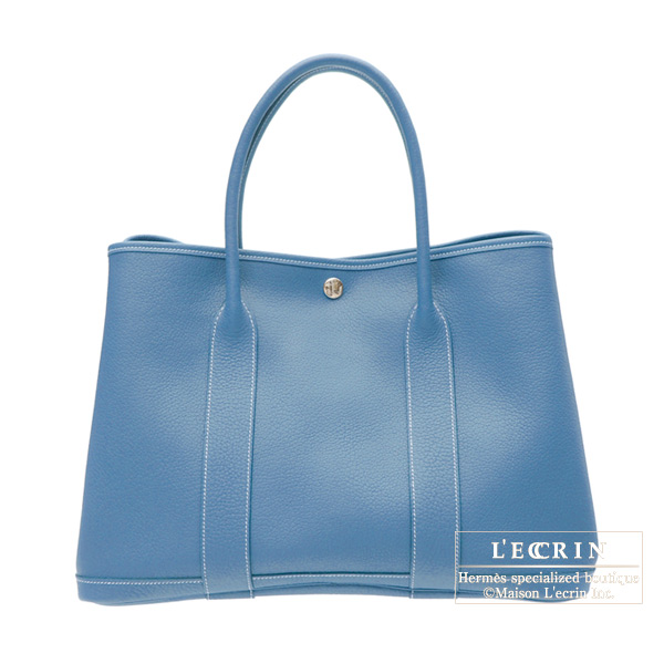 Hermes Garden Party bag PM Azure blue Buffalo leather