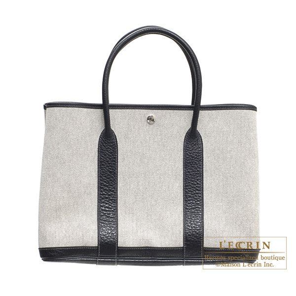 Hermes Garden Party bag PM Black Grey cotton canvas with buffalo leather