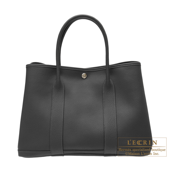 Hermes Garden Party bag PM Black Negonda leather