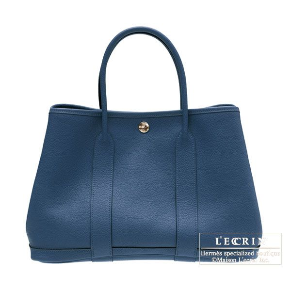 Hermes Garden Party bag PM Blue de malte/Dark blue Buffalo leather