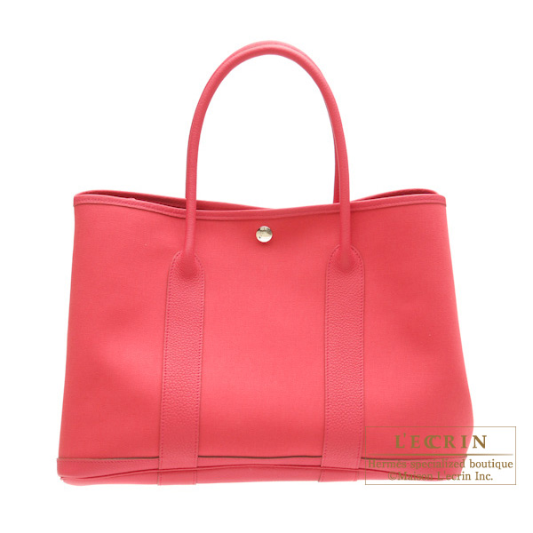 Hermes Garden Party bag PM Bougainvillier Cotton canvas with buffalo leather