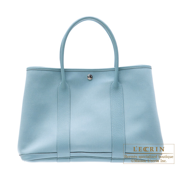 Hermes Garden Party bag PM Ciel Cotton canvas with buffalo leather