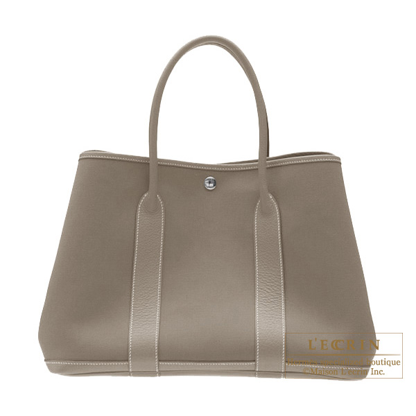 Hermes Garden Party bag PM Etoupe/Taupe grey Cotton canvas with buffalo leather