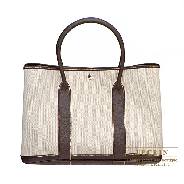 Hermes Garden Party bag PM Marron Natural cotton canvas with buffalo leather