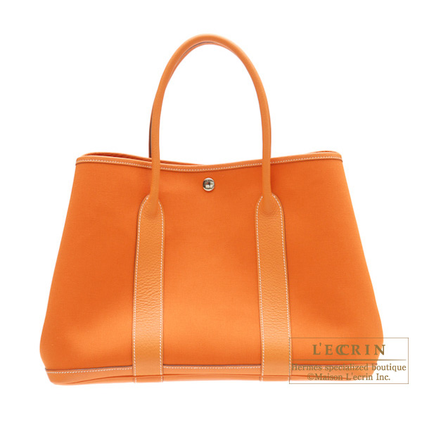 Hermes Garden Party bag PM Orange Cotton canvas with buffalo leather