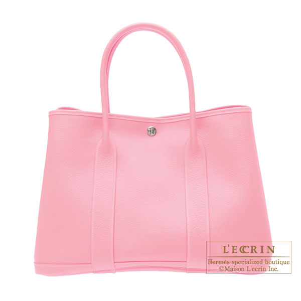 Hermes Garden Party bag PM Pink Buffalo leather