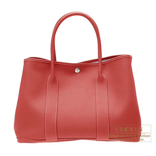 Hermes Garden Party bag PM Rouge venitienne/Venetian red Buffalo leather