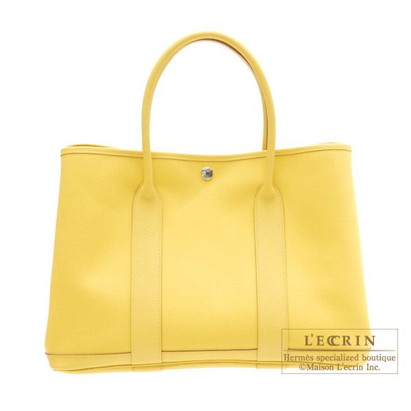 Hermes Garden Party bag PM Soleil/Yellow Cotton canvas with buffalo leather