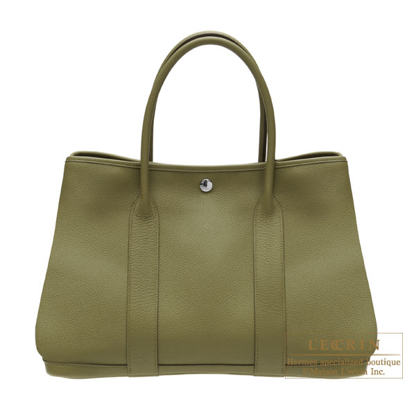 Hermes Garden Party bag PM Vert veronese/Veronese green Negonda leather