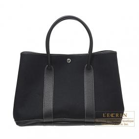 Hermes Garden Party bag PM Black Black cotton canvas with Buffle leather