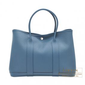 Hermes Garden Party bag PM Blue tempete/Dark blue Country leather