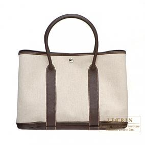 Hermes Garden Party bag PM Cocaon marron Natural cotton canvas with buffalo leather
