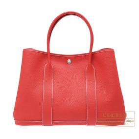 Hermes Garden Party bag PM Rouge casaque/Bright red Country leather