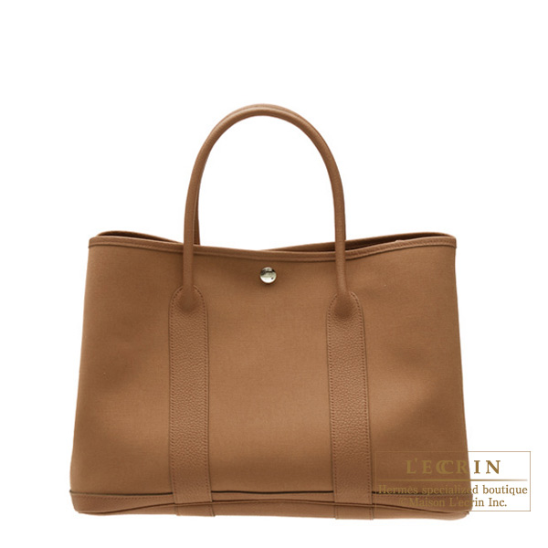 Hermes Garden Party bag TPM Alezan/Chestnut brown Cotton canvas with buffalo leather