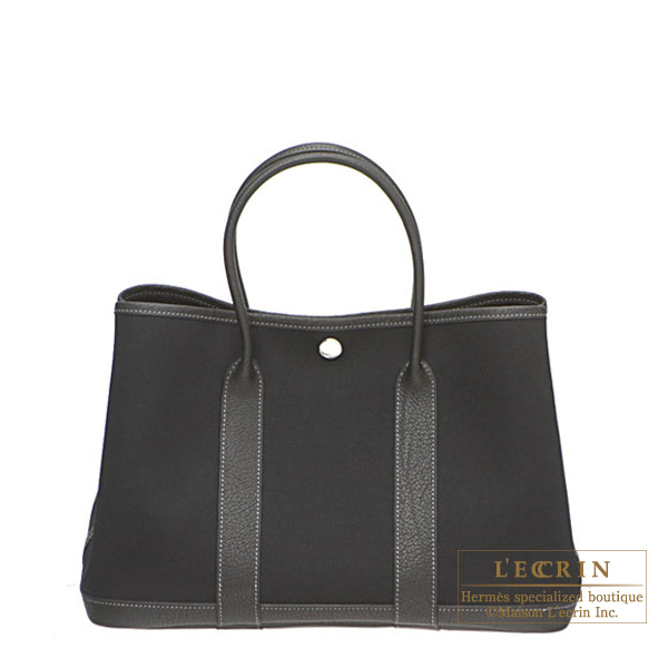 Hermes Garden Party bag TPM Black Black cotton canvas with buffalo leather