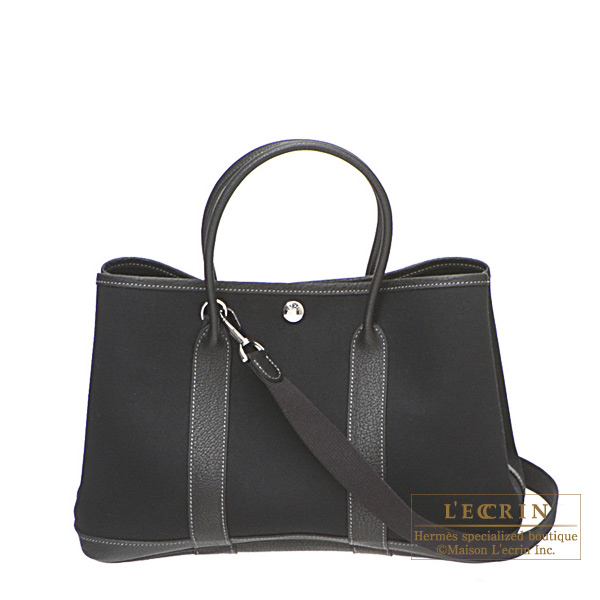 Hermes Garden Party bag TPM Black Black cotton canvas with fjord leather