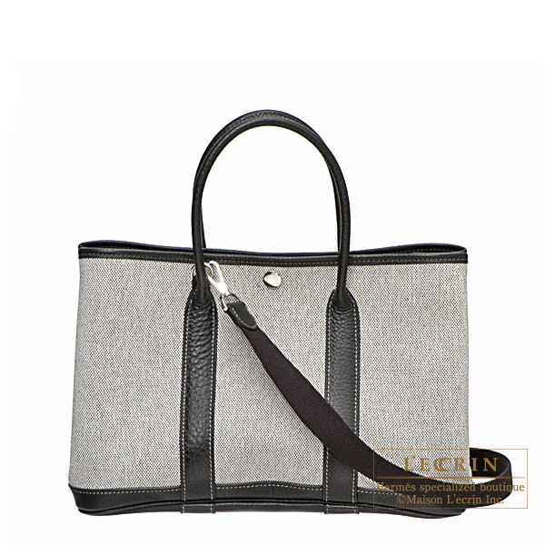 Hermes Garden Party bag TPM Black Grey cotton canvas with buffalo leather