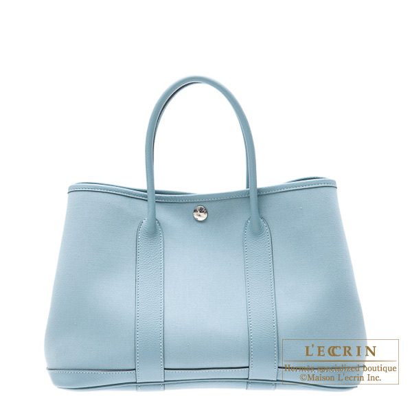 Hermes Garden Party bag TPM Ciel Cotton canvas with buffalo leather
