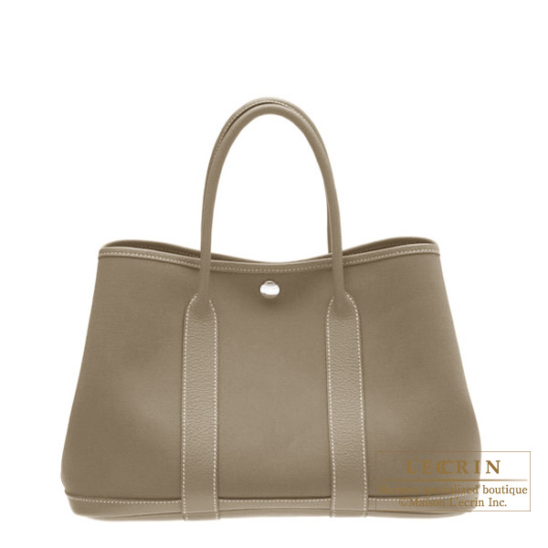Hermes Garden Party bag TPM Etoupe/Taupe grey Cotton canvas with buffalo leather