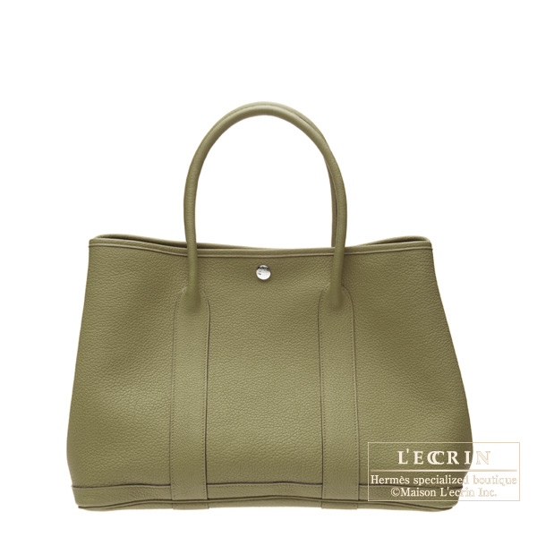Hermes Garden Party bag TPM Lichen green Fjord leather