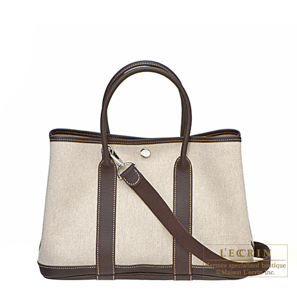 Hermes Garden Party bag TPM Marron Natural cotton canvas with buffalo leather