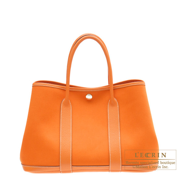Hermes Garden Party bag TPM Orange Cotton canvas with buffalo leather