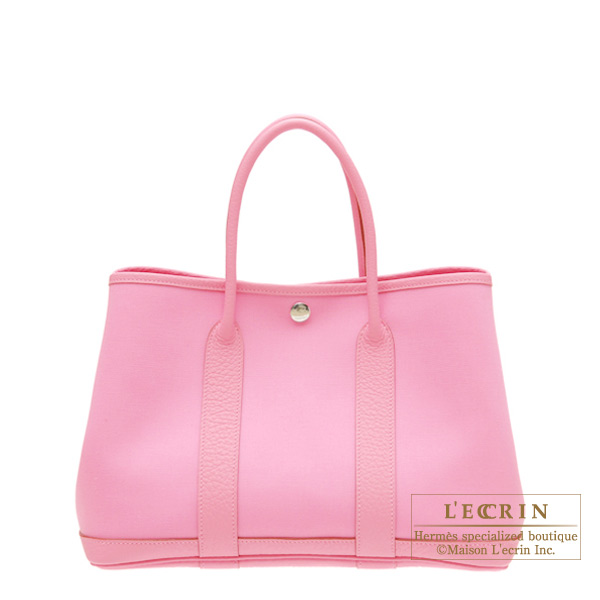 Hermes Garden Party bag TPM Pink Cotton canvas with buffalo leather